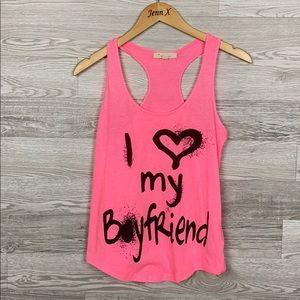 Forever21 Pink I love my boyfriend tank